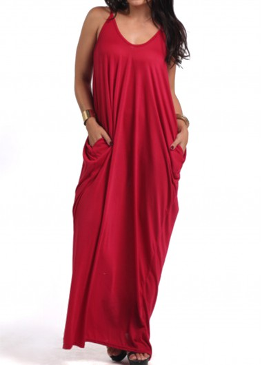 Pocket Design Wine Red Maxi Dress