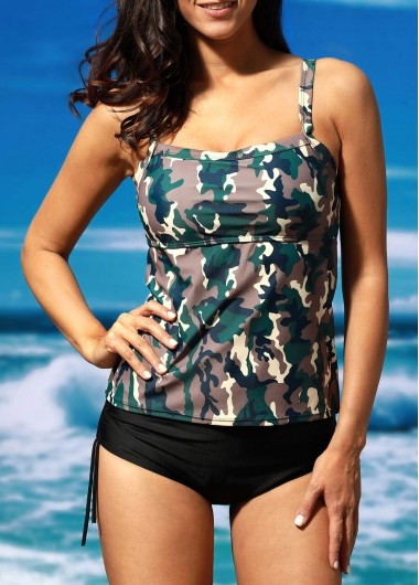 Camouflage Print Two Piece Swimwear Set