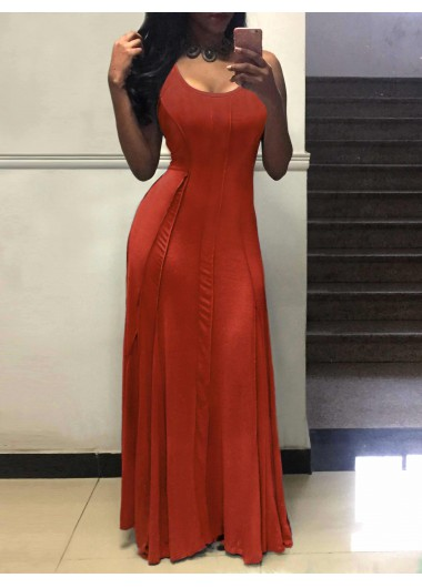 Round Neck Sleeveless Pleated Maxi DressMaxi Dresses<br><br><br>color: Red<br>size: S,M,L,XL,XXL,XXXL