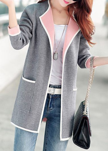 Long Sleeve Open Front Grey Cardigan | Rotita.com - USD $33.83