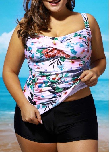 Open Back Flower Print Tankini SetsSwimwear<br><br><br>color: Black<br>size: L,XL,XXL
