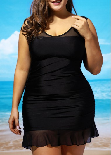 Lace Panel Black Swimdress and PantySwimwear<br><br><br>color: Black<br>size: L,XL,XXL
