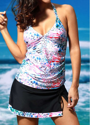 Printed V Neck Front Slit Open Back TankiniSwimwear<br><br><br>color: Black<br>size: S,M,L,XL,XXL