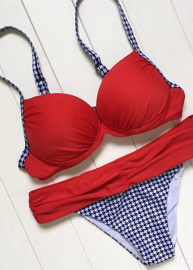 Spaghetti Strap Houndstooth Print Red BikiniSwimwear<br><br><br>color: Red<br>size: S,M,L