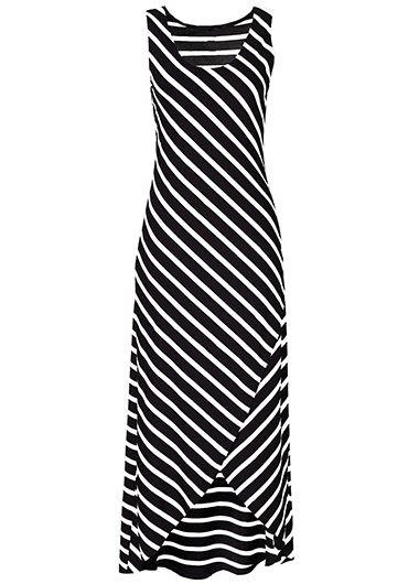 Sleeveless High Low Striped Black Maxi Dress