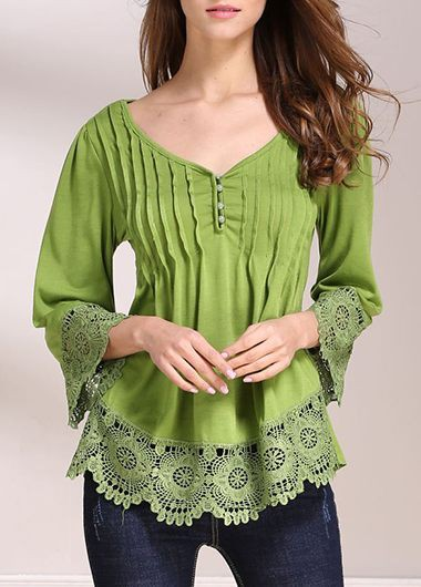 V Neck Three Quarter Sleeve Lace Panel BlouseBlouses &amp; Shirts<br><br><br>color: Green<br>size: S,M,L,XL,XXL,XXXL,4XL