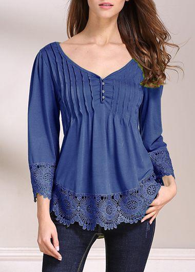 Three Quarter Sleeve Lace Panel V Neck BlouseBlouses &amp; Shirts<br><br><br>color: Navy blue<br>size: S,M,L,XL,XXL,XXXL,4XL