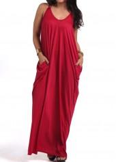 Pocket Design Wine Red Maxi Dress