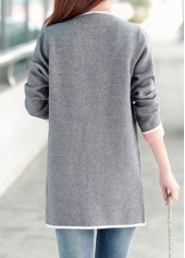 wholesale Long Sleeve Open Front Grey Cardigan