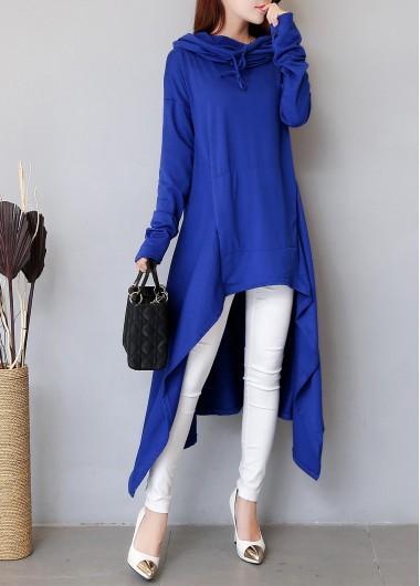 Long Sleeve Navy Blue Drawstring HoodieSweats &amp; Hoodies<br><br><br>color: Navy blue<br>size: M,L,XL,XXXL,XXL,S
