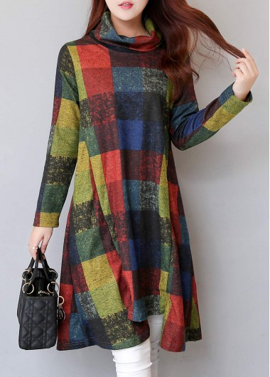 Plaid-Print-Asymmetric-Hem-Long-Sleeve-Straight-Dress