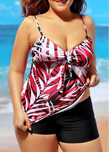 Spaghetti Strap V Neck Printed TankiniSwimwear<br><br><br>color: Rose<br>size: L,XL,XXL,XXXL