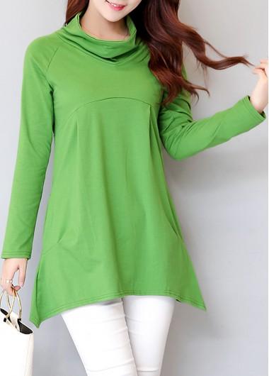 Green-Cowl-Neck-Long-Sleeve-T-Shirt