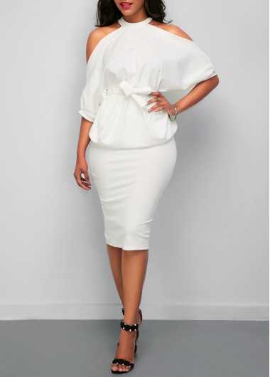 Batwing Sleeve Cold Shoulder Top and White SkirtTwo Piece Dresses<br><br><br>color: White<br>size: S,M,L,XL,XXL