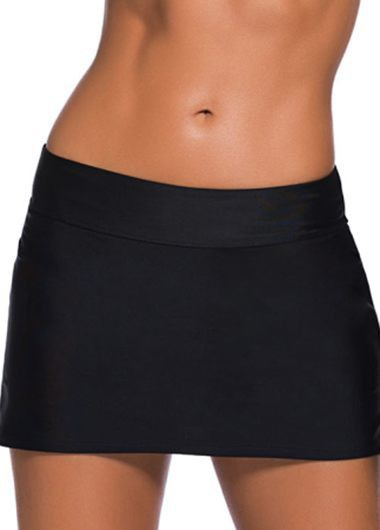 Band Waist Black Mini Swimwear PantskirtSwimwear<br><br><br>color: Black<br>size: S,M,L,XL,XXL,XXXL,4XL