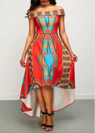 High Low Off the Shoulder Dashiki DressPrint Dresses<br><br><br>color: Red<br>size: S,M,L,XL,XXL
