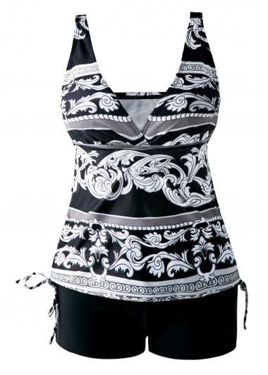 Open-Back-Drawstring-Side-V-Neck-Printed-Tankini