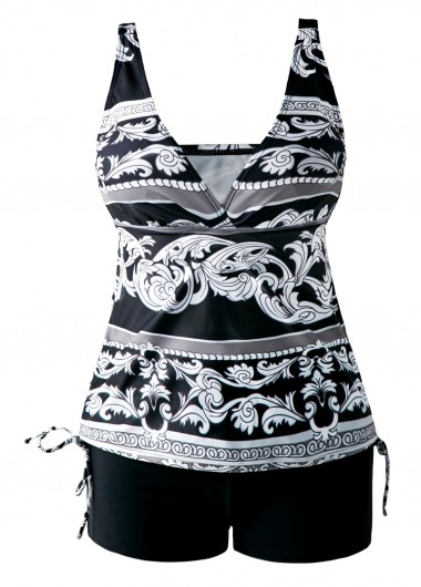 Open Back Drawstring Side V Neck Printed TankiniSwimwear<br><br><br>color: Black<br>size: S,M,L,XL,XXL