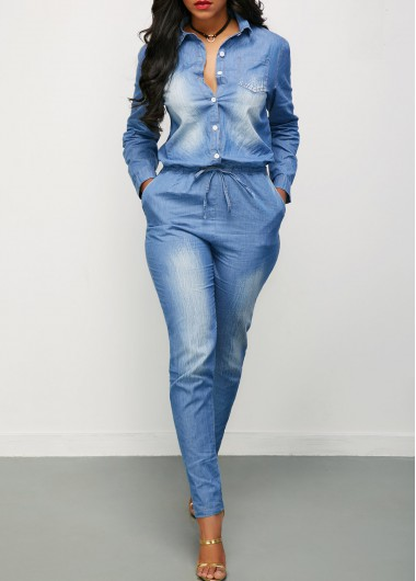 Button Up Drawstring Waist Long Sleeve Denim JumpsuitJumpsuits &amp; Rompers<br><br><br>color: Blue<br>size: S,M,L,XL,XXL