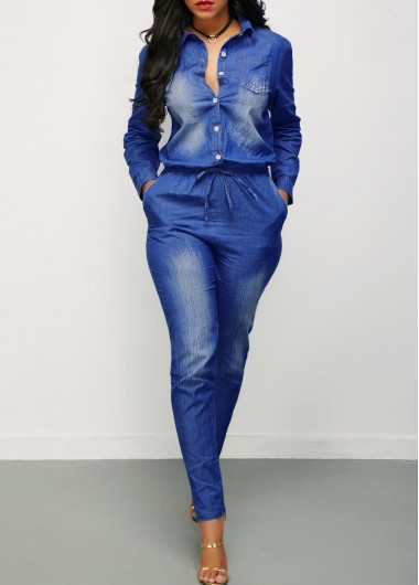 Drawstring Waist Button Up Denim JumpsuitJumpsuits &amp; Rompers<br><br><br>color: Navy blue<br>size: S,M,L,XL,XXL
