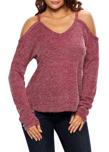 Wine Red Cold Shoulder V Neck Sweater