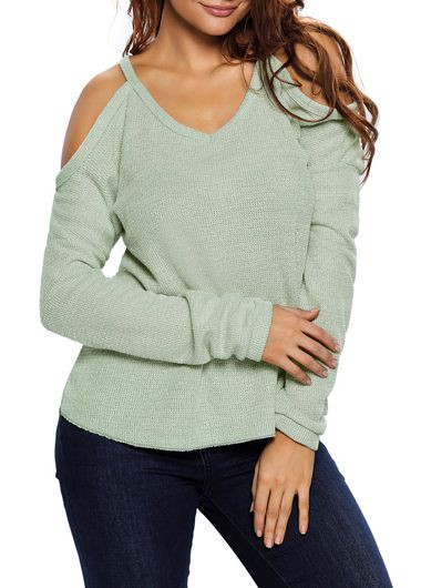 Asymmetric Hem Cold Shoulder V Neck Sweater