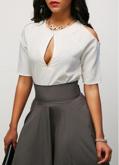 Cold Shoulder Keyhole Neckline White BlouseBlouses &amp; Shirts<br><br><br>color: White<br>size: S,M,L,XL,XXL