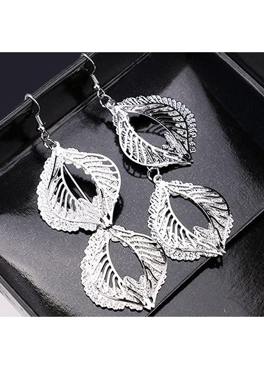 Silver Leaf Shape Decorated Metal Earrings