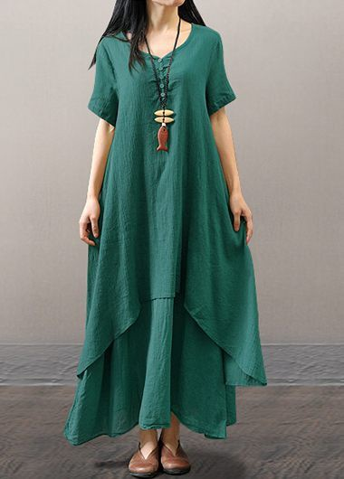 Green Short Sleeve Layered Maxi Dress