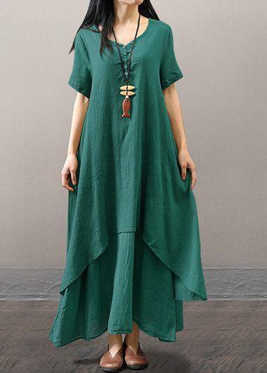 Green Short Sleeve Layered Maxi DressMaxi Dresses<br><br><br>color: Green<br>size: S,M,L,XL,XXL,XXXL,4XL