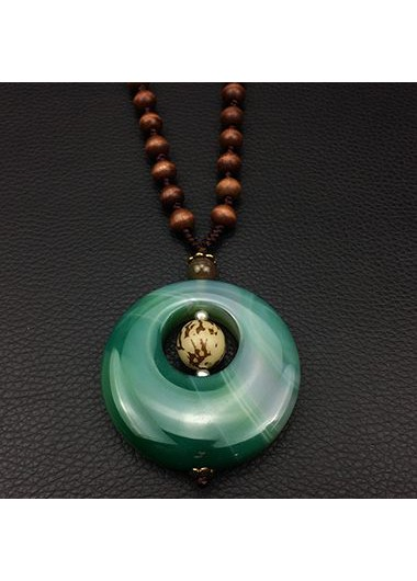 Cutout Beads Embellished Round Shape Pendant NecklaceNecklaces &amp; Pendants<br><br><br>color: Green<br>size: One Size