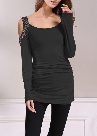 Cold-Shoulder-Rhinestone-Embellished-Ruched-Black-T-Shirt