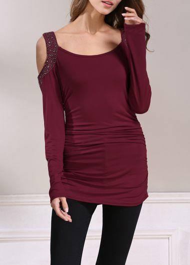 Rhinestone Embellished Cold Shoulder Ruched Burgundy T Shirt
