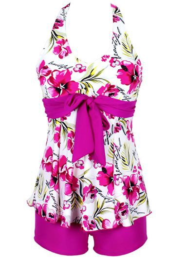 Flower Print Halter Neck Top and Rose ShortsSwimwear<br><br><br>color: Rose<br>size: M,L,XL,XXL,XXXL