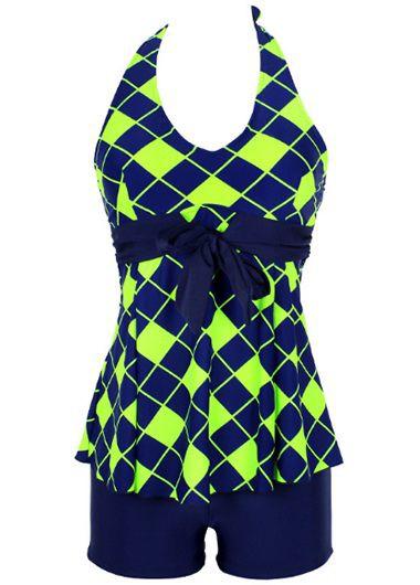 Halter Neck Plaid Print Top and Navy ShortsSwimwear<br><br><br>color: Navy blue<br>size: M,L,XL,XXL