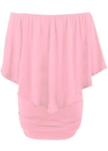 Boat Neck Ruffle Overlay Pink Mini Dress