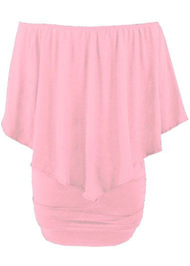 Boat Neck Ruffle Overlay Pink Mini DressCasual Dresses<br><br><br>color: Pink<br>size: S,M,L,XL,XXL