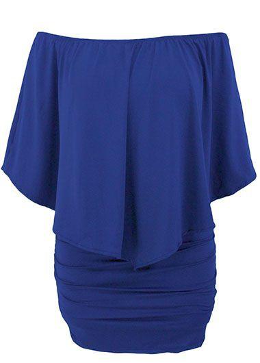 Ruffle Overlay Boat Neck Royal Blue Mini Dress