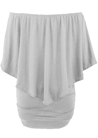 Grey Boat Neck Ruffle Overlay Mini DressCasual Dresses<br><br><br>color: Grey<br>size: S,M,L,XL,XXL,XXXL
