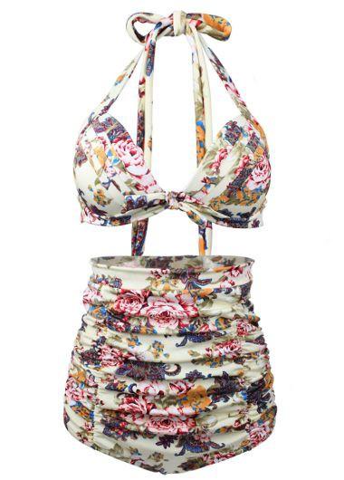 Halter Neck Bra and Flower Print Ruched PantySwimwear<br><br><br>color: Black<br>size: S,M,L,XL,XXL,XXXL