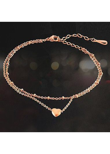 Gold Metal Layered Heart Shape AnkletAnklets<br><br><br>color: Gold<br>size: One Size