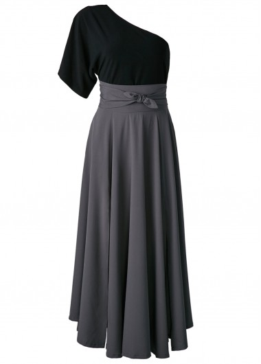 One Shoulder Top and Belted High Waist SkirtTwo Piece Dresses<br><br><br>color: Black<br>size: S,M,L,XL,XXL