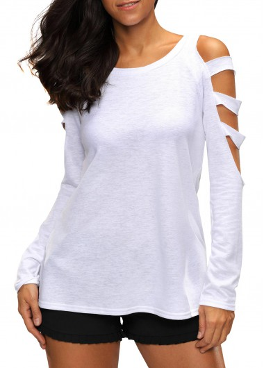 Round Neck Cutout Sleeve White T ShirtTees &amp; T-shirts<br><br><br>color: White<br>size: S,M,L,XL,XXL