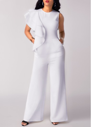Sleeveless Flouncing Pocket White Round Neck JumpsuitJumpsuits &amp; Rompers<br><br><br>color: White<br>size: M,L,XL,XXL,S