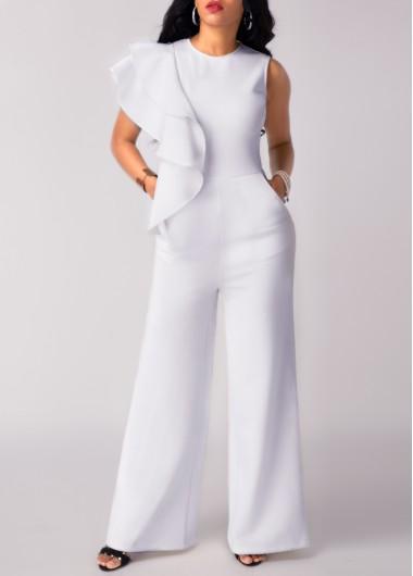 Sleeveless Flouncing Pocket White Round Neck Jumpsuit