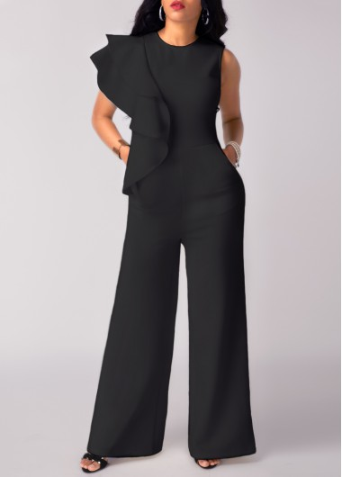 High Waist Flouncing Wide Leg Black Jumpsuit