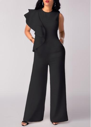 High Waist Flouncing Wide Leg Black JumpsuitJumpsuits &amp; Rompers<br><br><br>color: Black<br>size: S,M,L,XL,XXL