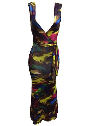 Printed Sleeveless Belted Plunging Neck Maxi Dress