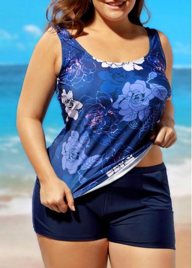 Flower Print Open Back Top and Navy ShortsSwimwear<br><br><br>color: Navy blue<br>size: L,XL,XXL,XXXL