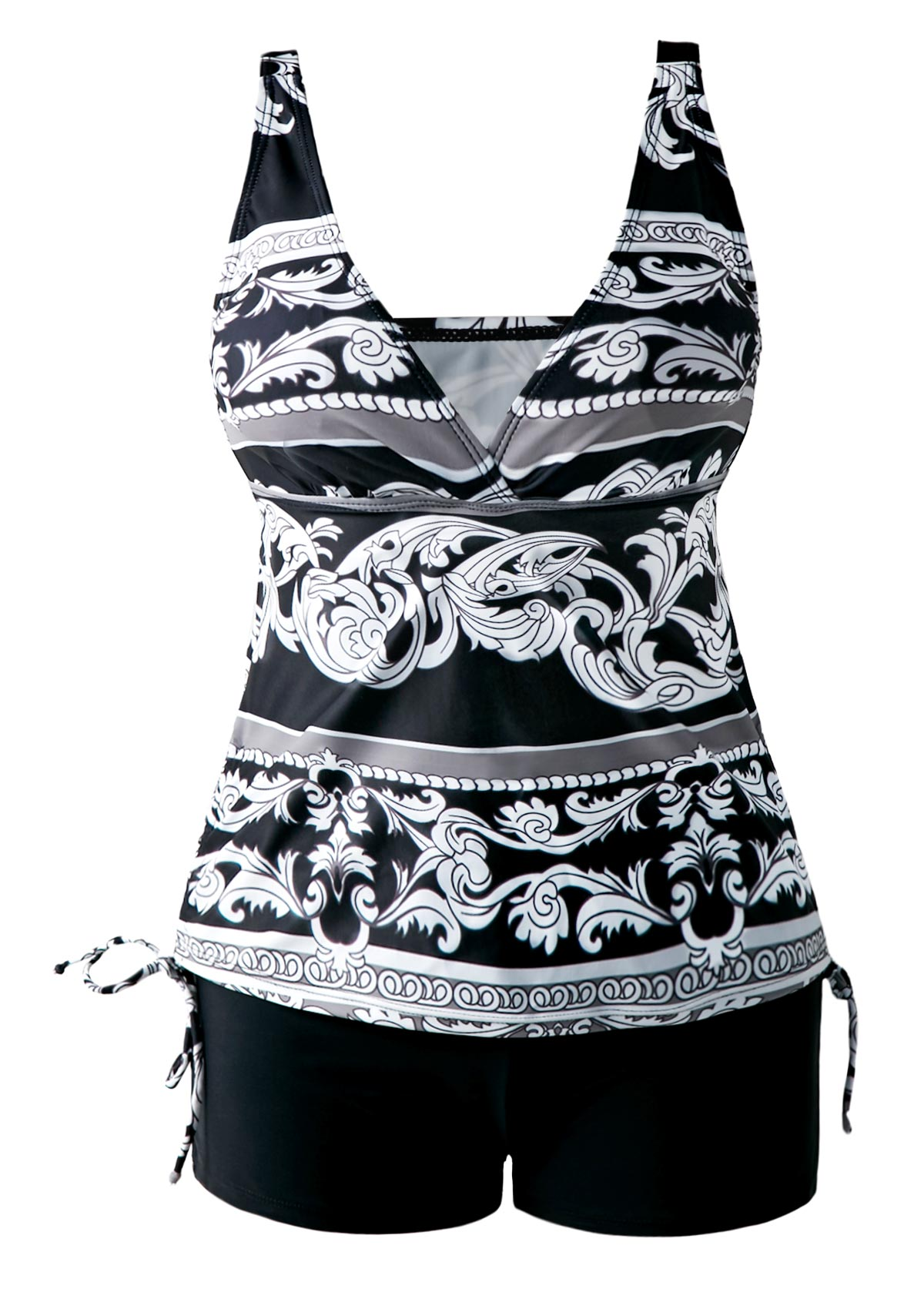 Open Back Drawstring Side V Neck Printed Tankini